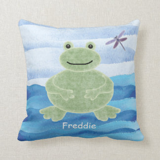 Personalized Green Frog Pillow with Dragonfly