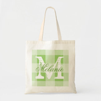 Personalized green gingham monogram tote bag