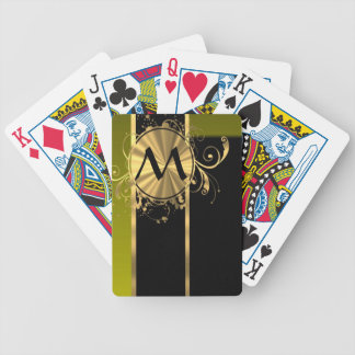 Personalized green gold and black bicycle playing cards