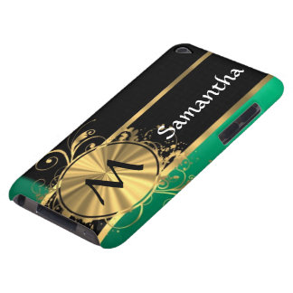Personalized green gold and black monogram barely there iPod cases