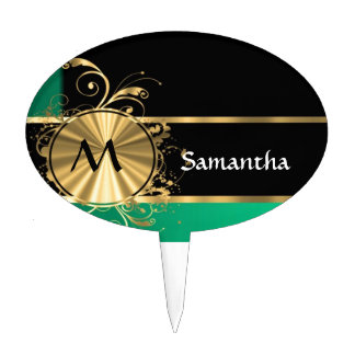Personalized Green gold and black monogram Cake Topper