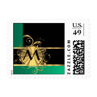 Personalized Green gold and black monogram Postage Stamp