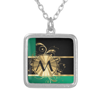 Personalized Green gold and black monogram Square Pendant Necklace