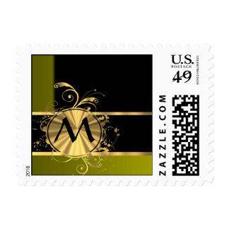 Personalized green gold and black stamp