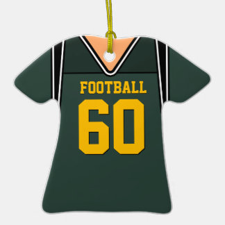 Personalized Green Gold Football Jersey 60 V1 Ornaments