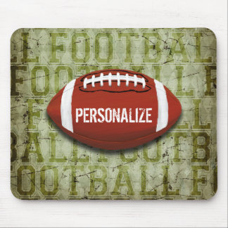 Personalized Green Grunge Football Mouse Pad