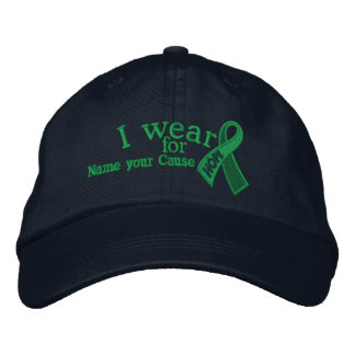 Personalized Green Hope Ribbon Awareness Your Text Embroidered Baseball Cap