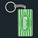 "Personalized Green HS Western Keychain<br><div class=""desc"">personalized green and white horizontal striped double sided acrylic rectangle key chain</div>"