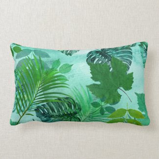 Personalized Green Leafy Pattern Pillow