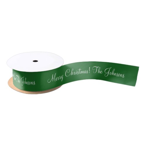 Personalized green Merry Christmas gift ribbon