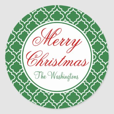 Christmas Themed Personalized Green Merry Christmas Gift Stickers