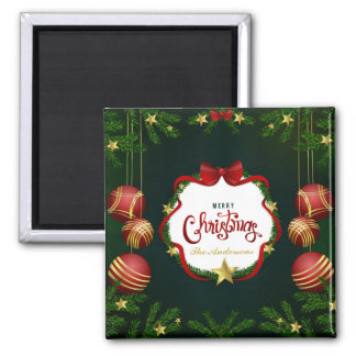 Personalized Green Merry Christmas | Magnet