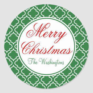 Personalized Green Merry Christmas Stickers