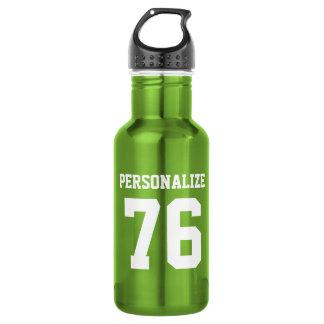 Personalized green metal sports water bottle