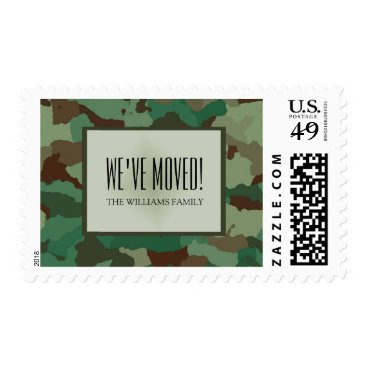 Personalized Green Military Camouflage We've Moved Postage