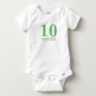 Personalized Green Monthly Baby Baby Onesie