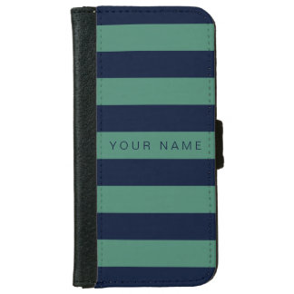 Personalized Green & Navy Blue Striped Wallet Phone Case For iPhone 6/6s