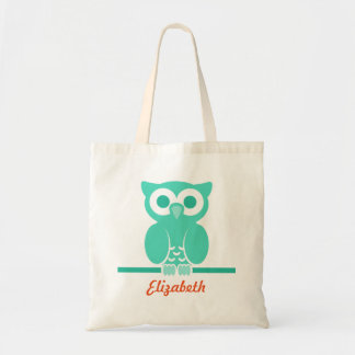 Personalized Green Owl kids Tote Bag