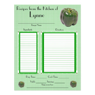 Personalized Green Peppers design recipe page