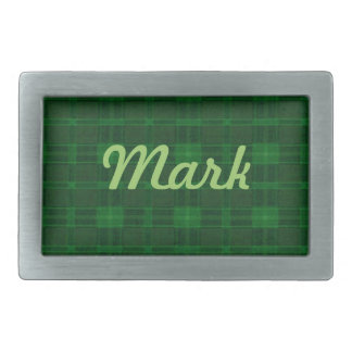 Personalized Green Plaid Belt Buckle