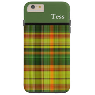 Personalized Green Plaid iPhone Case iPhone 6 Plus Case
