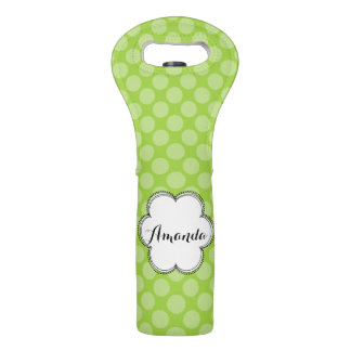 Personalized Green Polka Dots Wine Tote