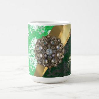 Personalized green pretty girly damask pattern coffee mug
