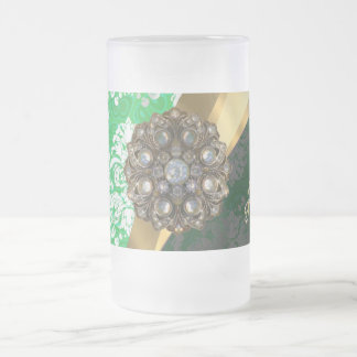 Personalized green pretty girly damask pattern frosted glass beer mug