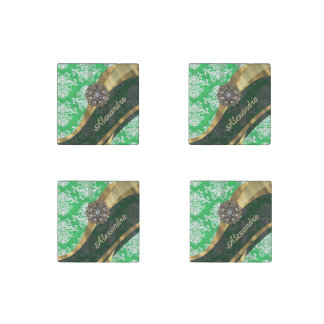 Personalized green pretty girly damask pattern stone magnet