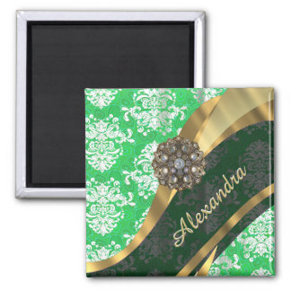 Personalized green pretty girly damask pattern 2 inch square magnet