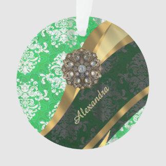 Personalized green pretty girly damask pattern ornament