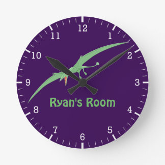 Personalized Green Pterodactyl Flying Dinosaur 3 Round Clock