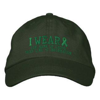 Personalized Green Ribbon Awareness Embroidery Embroidered Baseball Caps