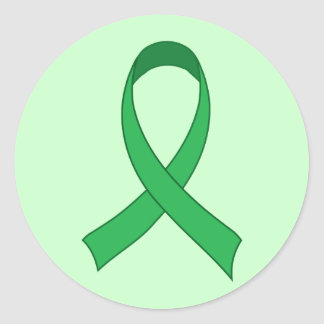 Personalized Green Ribbon Awareness Gift Classic Round Sticker