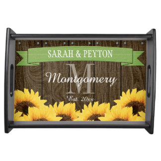 PERSONALIZED GREEN RUSTIC SUNFLOWER WEDDING SERVING TRAY