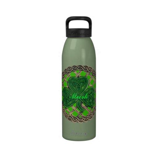 Personalized Green Shamrock Water Bottle