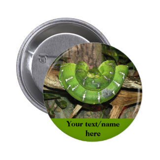 Personalized Green Snake Button