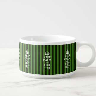 Personalized Green Stripes Keep Calm Your Text Bowl
