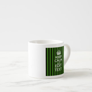 Personalized Green Stripes Keep Calm Your Text Espresso Cup