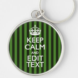 Personalized Green Stripes Keep Calm Your Text Keychain