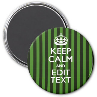 Personalized Green Stripes Keep Calm Your Text Magnet