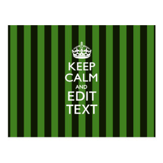 Personalized Green Stripes Keep Calm Your Text Postcard
