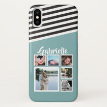 Personalized Green Teal Stripe Pattern Black White iPhone X Case