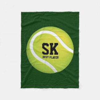 Personalized Green Tennis Ball Fleece Blanket