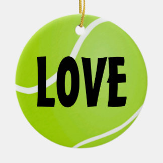 Personalized Green Tennis Ball LOVE Ceramic Ornament