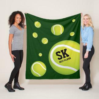 Personalized Green Tennis Balls Fleece Blanket