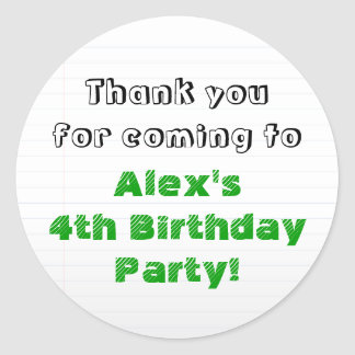 Personalized Green Thank You Birthday Party Classic Round Sticker