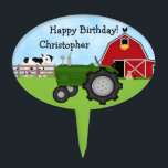 "Personalized Green Tractor and Red Barn Birthday Cake Topper<br><div class=""desc"">Cute Personalized Green Tractor,  Red Barn and Cow Farm Happy Birthday Cake Topper.  Some graphics by artwork&#169;delightful-doodles.com. ~</div>"