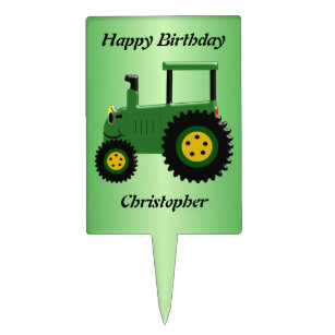 Personalized Green Tractor Birthday Cake Topper