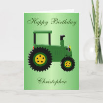 Personalized Green Tractor Birthday Card